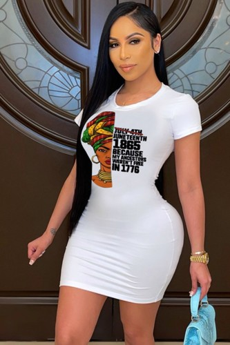 Print White Round Neck Bodycon T-Shirt Dress