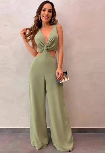 Green Hollow Out Sleeveless V-Neck Wide Leg Jumpsuit