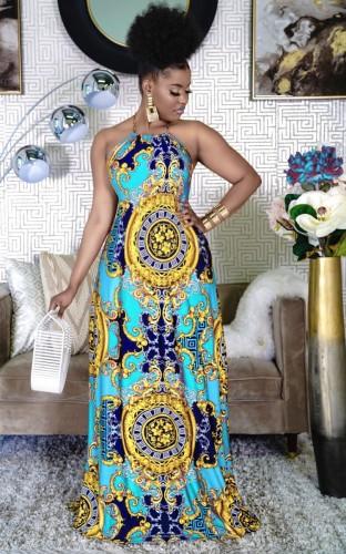 Tribal Print Halter Open Back Maxi Dress