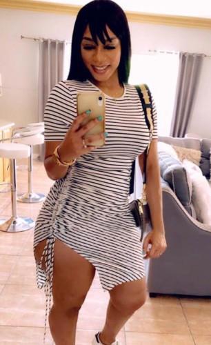 O-Neck Grey Stripes Ruched Drawstring T-Shirt Dress