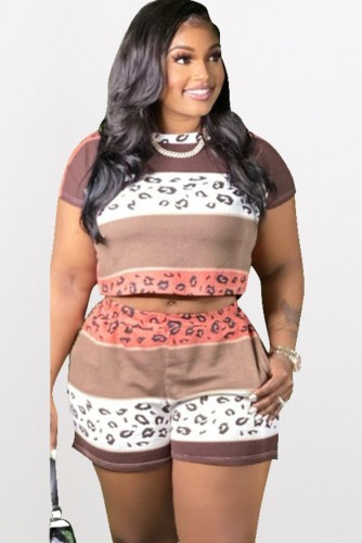 Plus Size Print Short Sleeve Crop Top and Shorts Casual 2PCS Set
