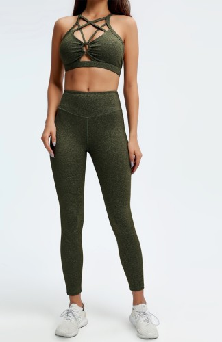 Solid Hollow Out Bra and High Waist Leggings Two Piece Yoga Set