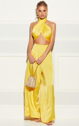 Yellow Two Piece Set Wrap Halter Crop Top and Wide Pants