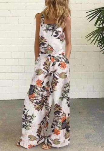 Casual Floral Wide Leg Cami Loose Jumpsuit