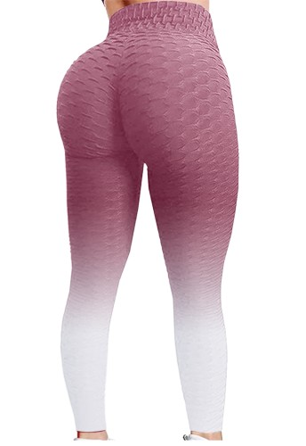 Pink Gradient High Waist Textured Sexy Fitted Yoga Leggings