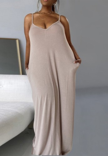 Casual Plus Size Solid Cami Long Loose Dress