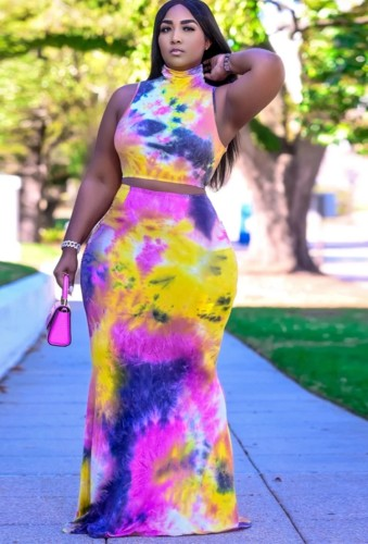 Plus Size Tie Dye Crop Top and Long Skirt Two Piece Set