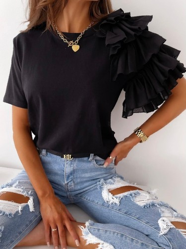 Solid Round Neck Irregular Top with Ruffle Sleeve