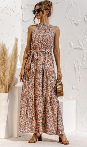 Floral Print Halter Resort Maxi Dress with Belt