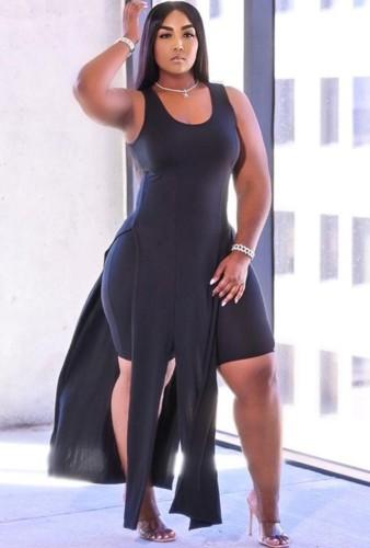 Plus Size Black Side Slit Long Top and Shorts Set