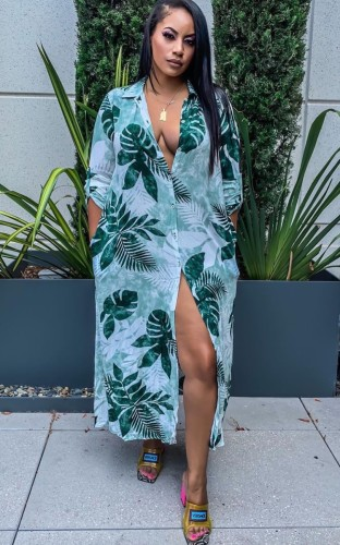 Print Green Button Up Long Blouse Dress