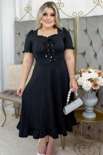 Plus Size Solid Lace Up Ruffles Midi Dress