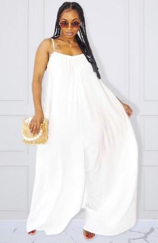 Plus Size White Cami Loose Jumpsuit