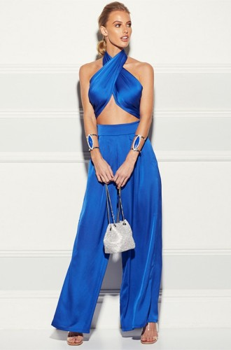 Blue Two Piece Set Wrap Halter Crop Top and Wide Pants