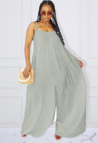 Plus Size Grey Cami Loose Jumpsuit