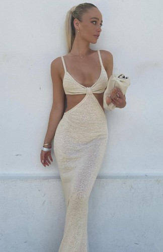 Sexy Beige Hollow Out Cami Mermaid Long Dress