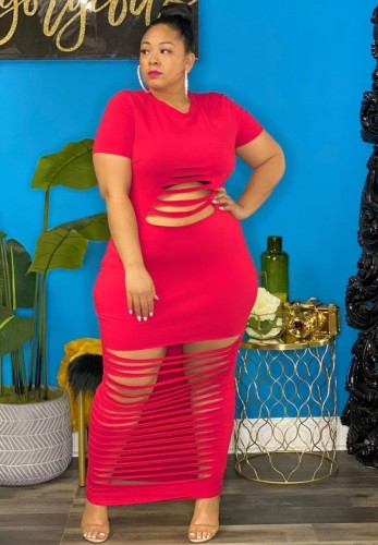 Plus Size Red Ripped Casual Maxi Dress