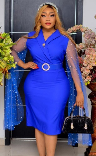 Blue Belted Midi Dress with Beadded Mesh Sleeves