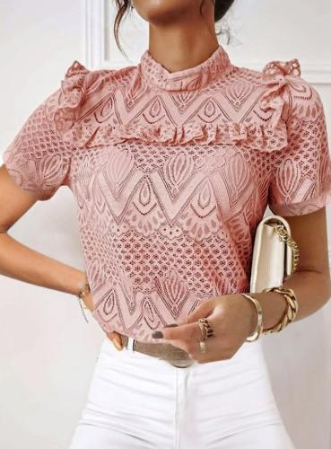 Pink Lace Mock Neck Elegant Blouse