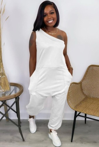 Casual White One Shoulder Loose Jumpsuit