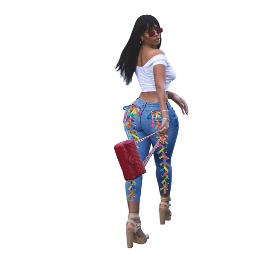 Plus Size Trendy Contrast Lace-Up Sexy Tight Jeans
