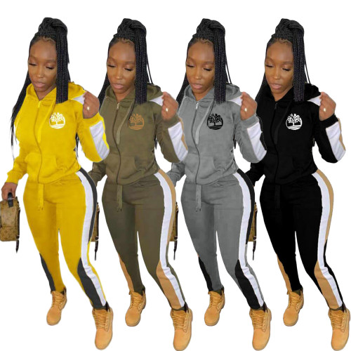 Print Gray Contrast Zipper Hooded Tracksuit