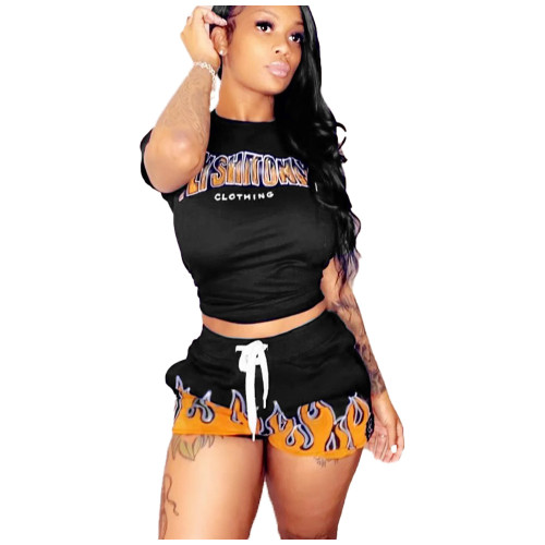 Print Black Matching Casual Two Piece Shorts Set