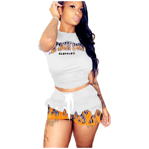 Print White Matching Casual Two Piece Shorts Set