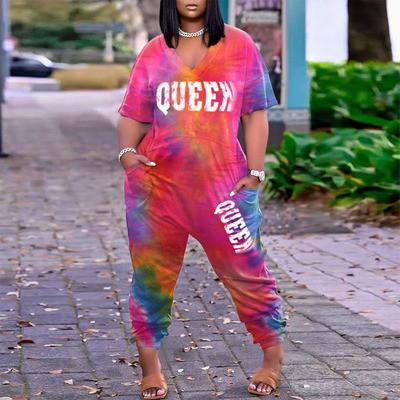 Plus Size Tie Dye Print Loose Jumpsuit