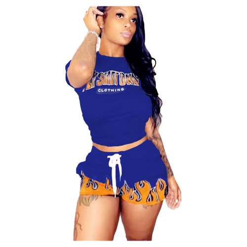 Print Blue Matching Casual Two Piece Shorts Set