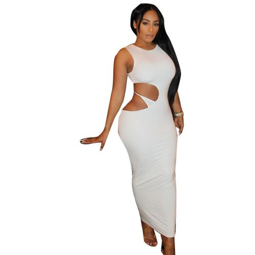 White Hollow Out Irregular Sleeveless Bodyon Maxi Dress