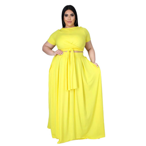 Plus Size Yellow Wrap Around Crop Top and Long Skirt Set