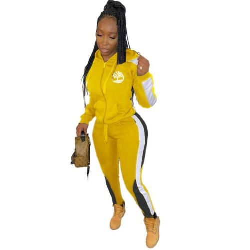 Print Yellow Contrast Zipper Hooded Tracksuit