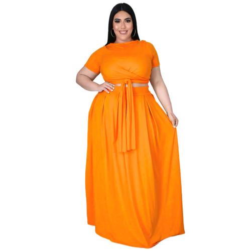 Plus Size Orange Wrap Around Crop Top and Long Skirt Set