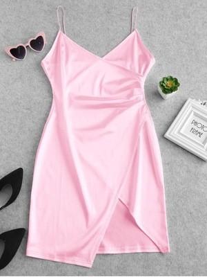 Pink Satin Strap Irregular Hem Mini Dress