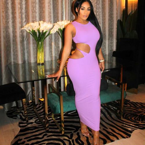 Purple Hollow Out Irregular Sleeveless Bodyon Maxi Dress