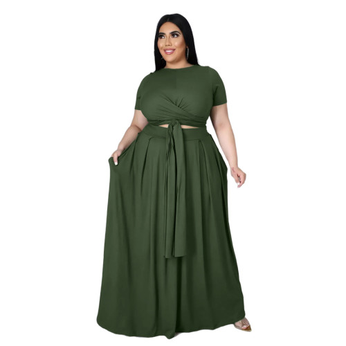 Plus Size Green Wrap Around Crop Top and Long Skirt Set