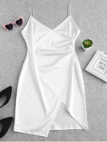 White Satin Strap Irregular Hem Mini Dress