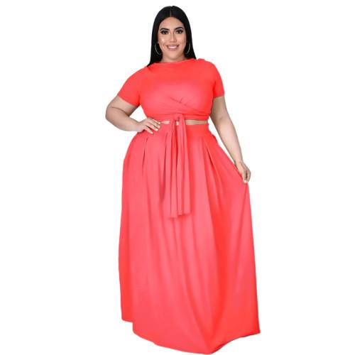 Plus Size Pink Wrap Around Crop Top and Long Skirt Set