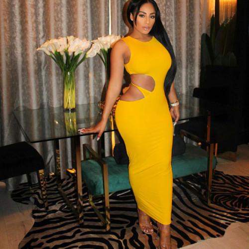 Yellow Hollow Out Irregular Sleeveless Bodyon Maxi Dress