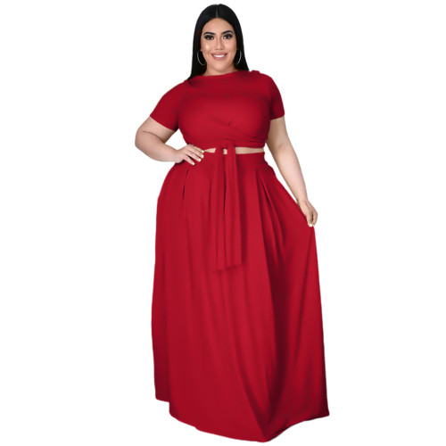Plus Size Red Wrap Around Crop Top and Long Skirt Set