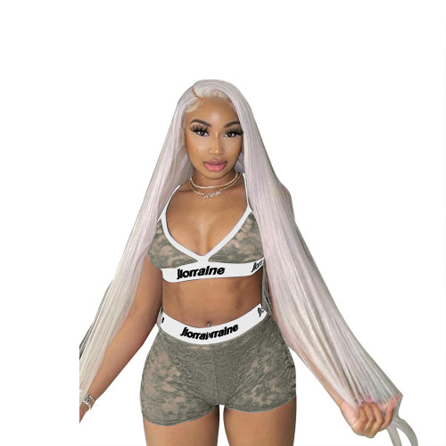 Gray Transparent Mesh Letter Print Two Piece Bra and Shorts Set