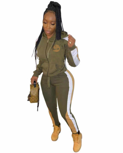 Army Green Print Contrast Zipper Hooded Tracksuit