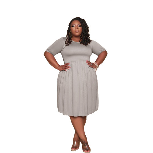 Plus Size Gray Short Sleeve Loose Casual Dress
