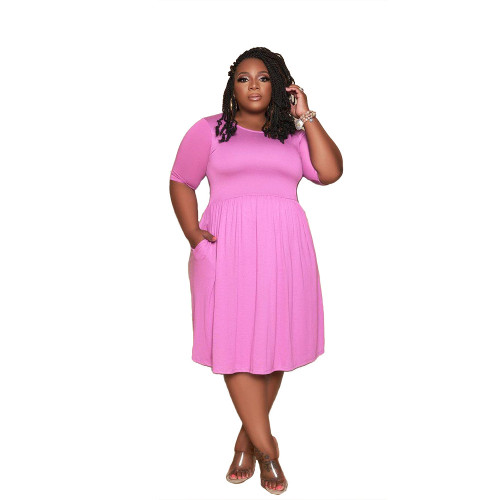 Plus Size Purple Short Sleeve Loose Casual Dress