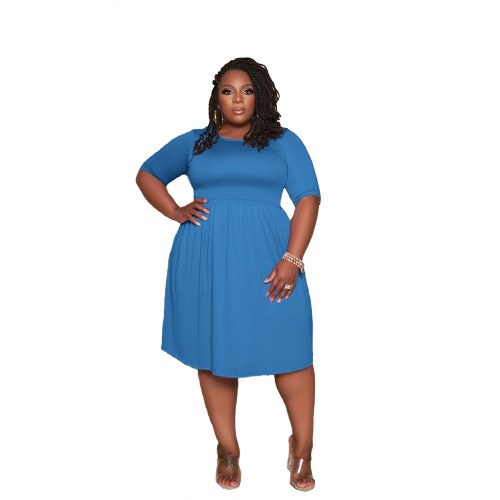 Plus Size Solid Short Sleeve Blue Loose Casual Dress