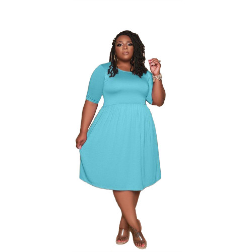 Plus Size Light Blue Short Sleeve Loose Casual Dress