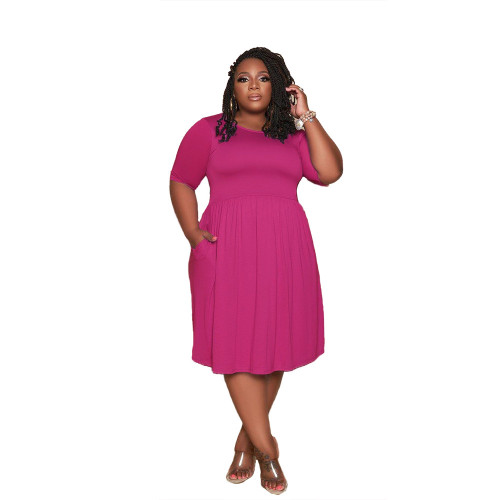 Plus Size Hot Pink Short Sleeve Loose Casual Dress