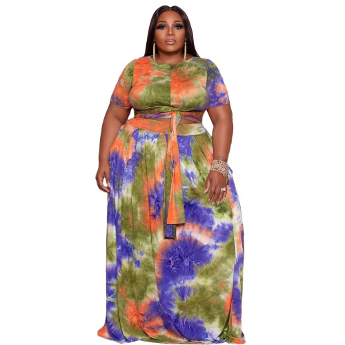 Plus Size Matching Two Piece Tie Dye Crop Top and Long Skirt Set