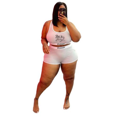 Plus Size Letter Print White Two Piece Swimwear